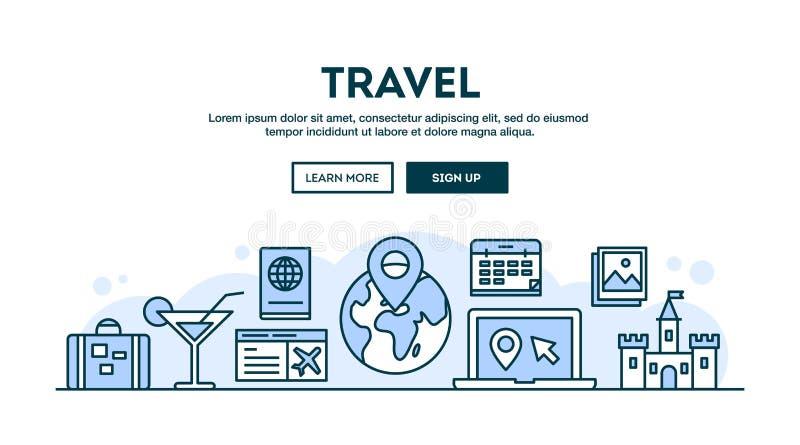 Viaggio, intestazione di concetto, linea stile sottile di progettazione piana illustrazione di stock