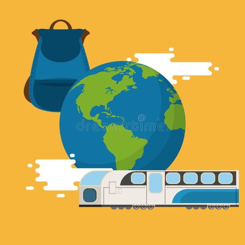 Viaggio intorno al mondo, concetto di vacanze illustrazione vettoriale