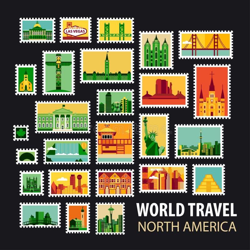 Viaggio intorno al mondo Icone impostate illustrazione vettoriale