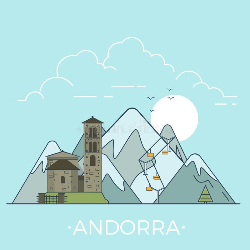 Viaggio intorno al mondo nella progettazione piana lineare di vettore dell'Andorra royalty illustrazione gratis