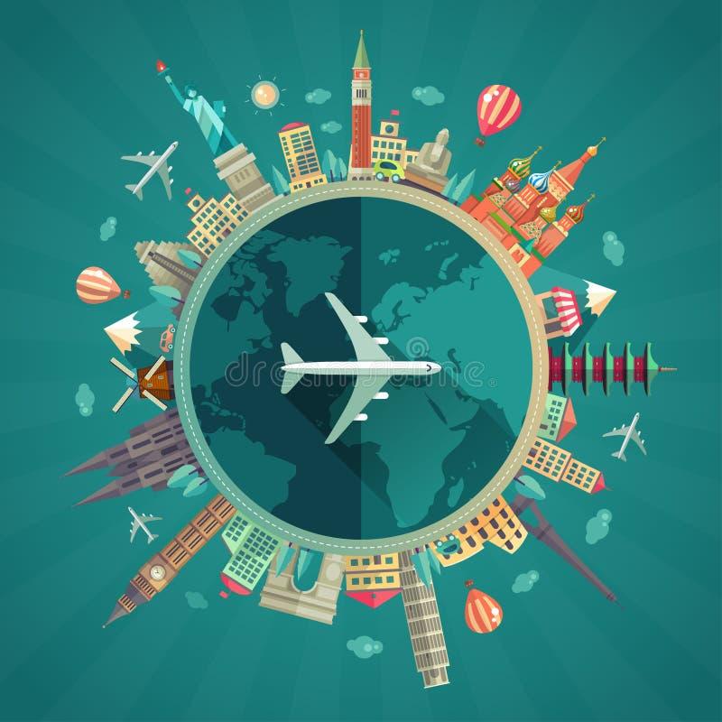Viaggio intorno all'illustrazione piana di progettazione del mondo royalty illustrazione gratis