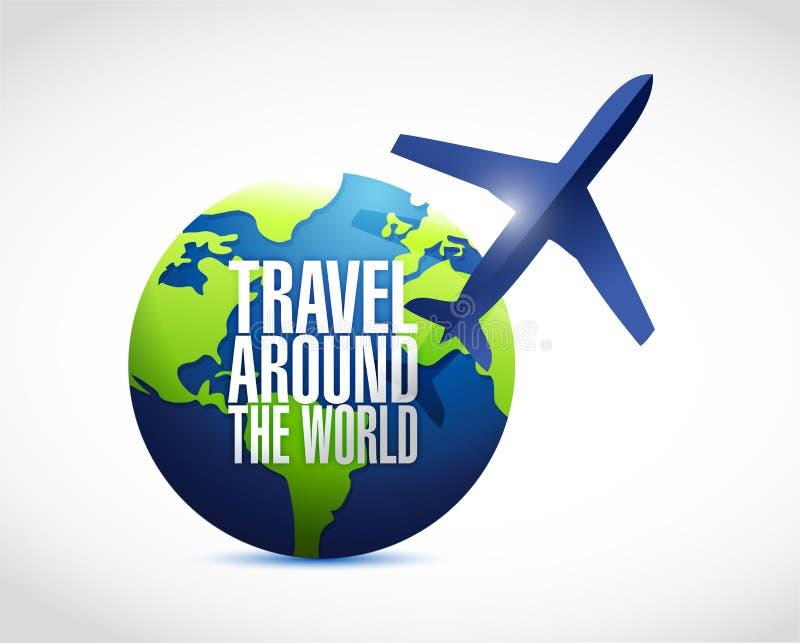 Viaggio intorno alla progettazione dell'illustrazione del globo illustrazione vettoriale