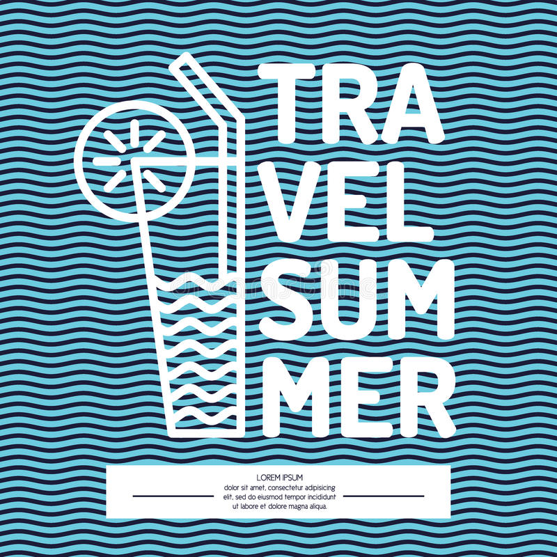 Viaggio lineare di estate del testo del manifesto con un cocktail illustrazione di stock
