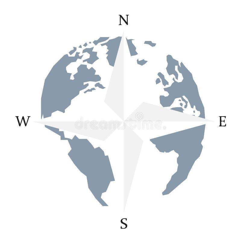 Viaggio nautico della freccia della bussola della mappa di mondo del globo Bussola di rosa del vento illustrazione vettoriale