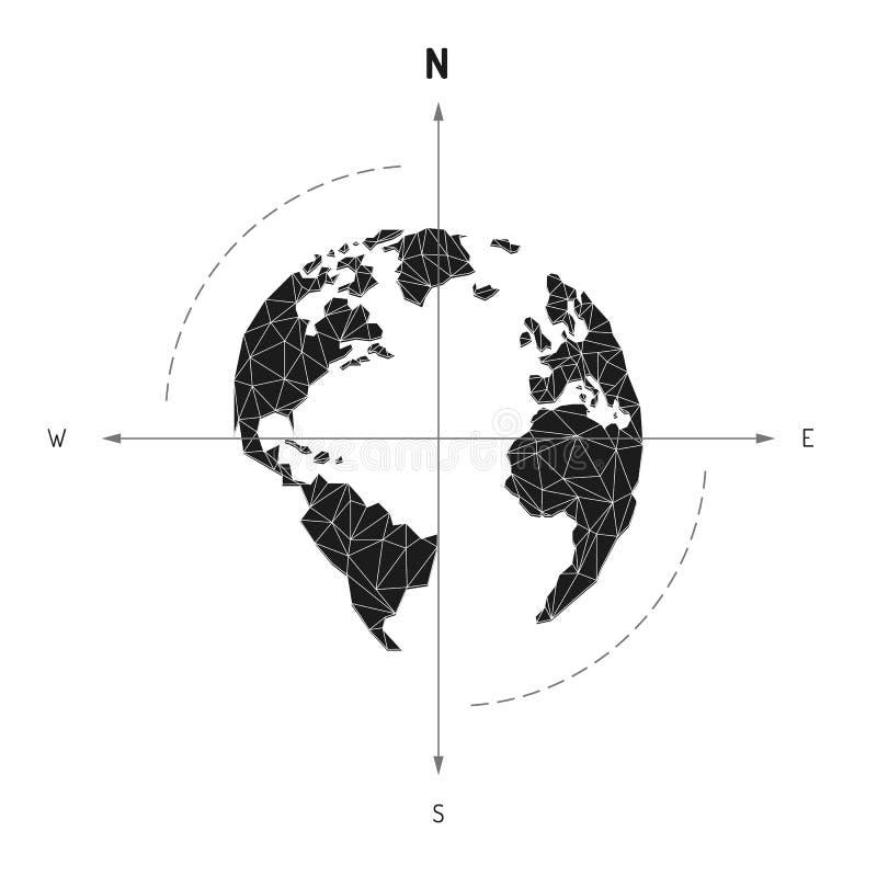 Viaggio nautico della freccia della bussola della mappa di mondo del globo L'America, Europa, illustrazione di stock