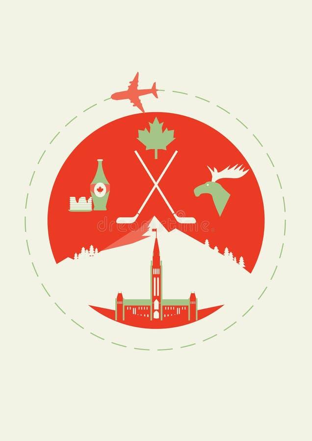 Viaggio nel Canada Copertura per l'opuscolo o carta, manifesto o autoadesivo Illustrazione di vettore fotografie stock libere da diritti