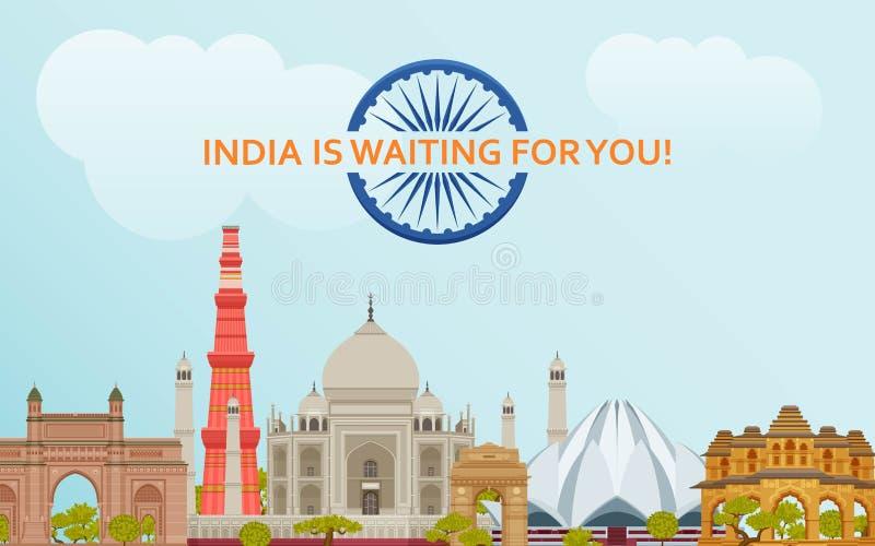 Viaggio nel concetto dell'India Insieme indiano di viste più famoso Costruzioni architettoniche Attrazioni turistiche famose illustrazione di stock