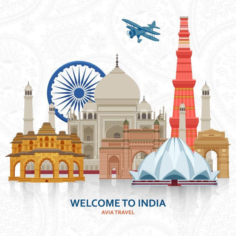Viaggio nel concetto dell'India Insieme indiano di viste più famoso Costruzioni architettoniche Attrazioni turistiche famose illustrazione vettoriale