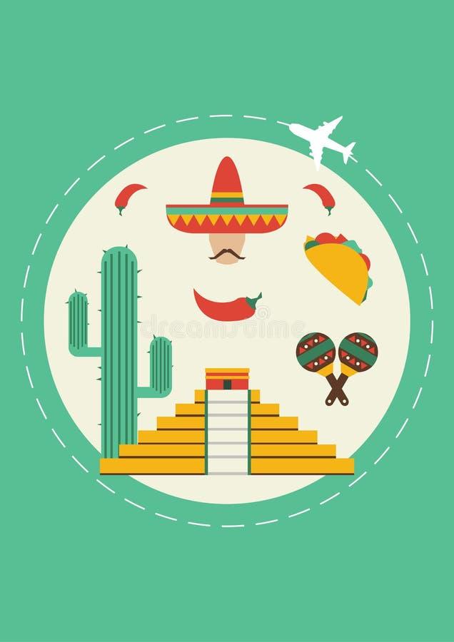 Viaggio nel Messico Copertura per l'opuscolo o carta, manifesto o autoadesivo Illustrazione di vettore fotografia stock