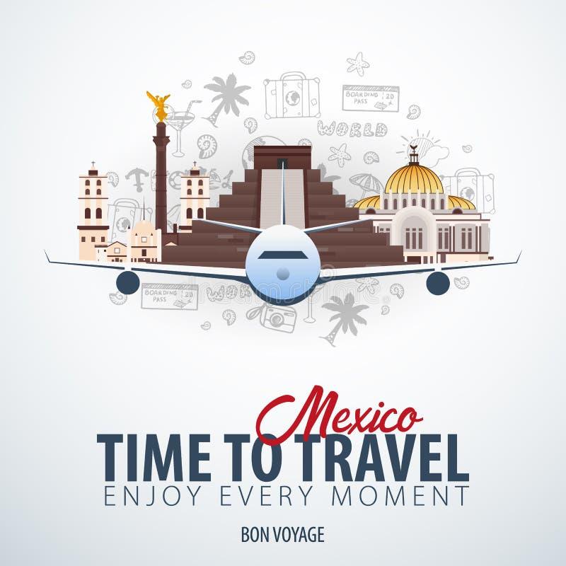 Viaggio nel Messico Tempo di viaggiare Insegna con l'aeroplano e scarabocchi di a mano tiraggio sui precedenti Illustrazione di v royalty illustrazione gratis