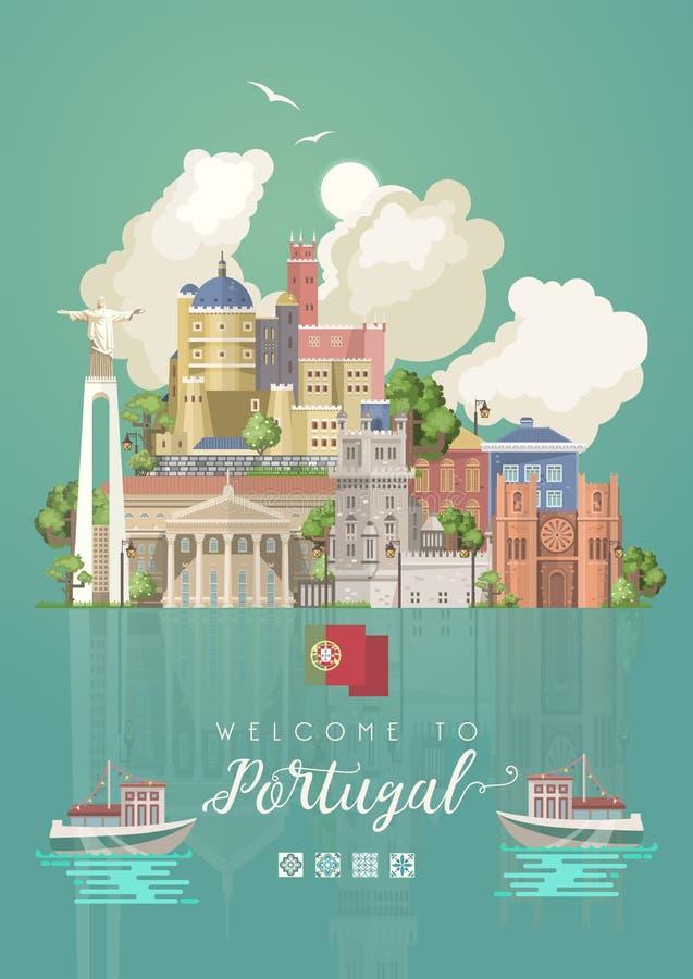 Viaggio nel Portogallo Concetto di vettore di viaggio del Portogallo nello stile piano luminoso con gli edifici di Lisbona ed i r royalty illustrazione gratis