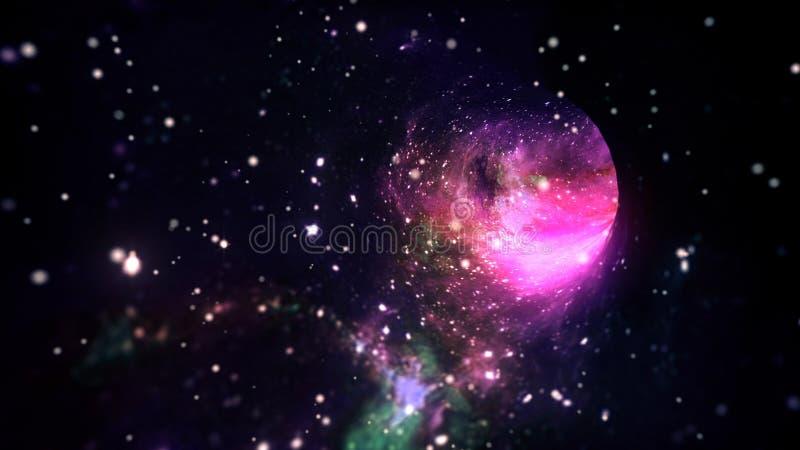 Viaggio nello spazio interstellare di velocità della luce nel portale del buco del verme dell'iperspazio con le stelle illustrazione vettoriale