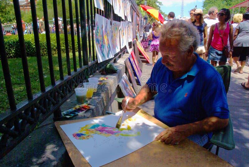 Viaggio-nuovo Orleans-artista sul lavoro da Jackson Square immagini stock