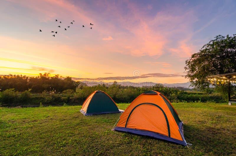Viaggio per spandere la tenda in uno spazio aperto nella sera I Mountain View dorati del cielo sul Nakhasat Sabai in Chiang Mai fotografia stock