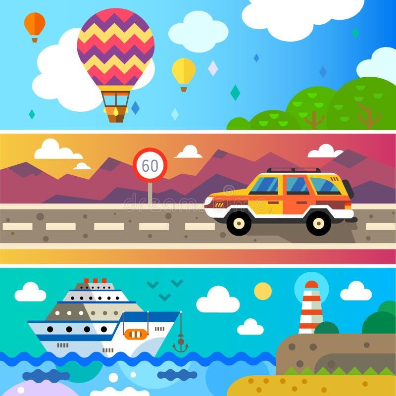 Viaggio per terra, mare ed aria royalty illustrazione gratis