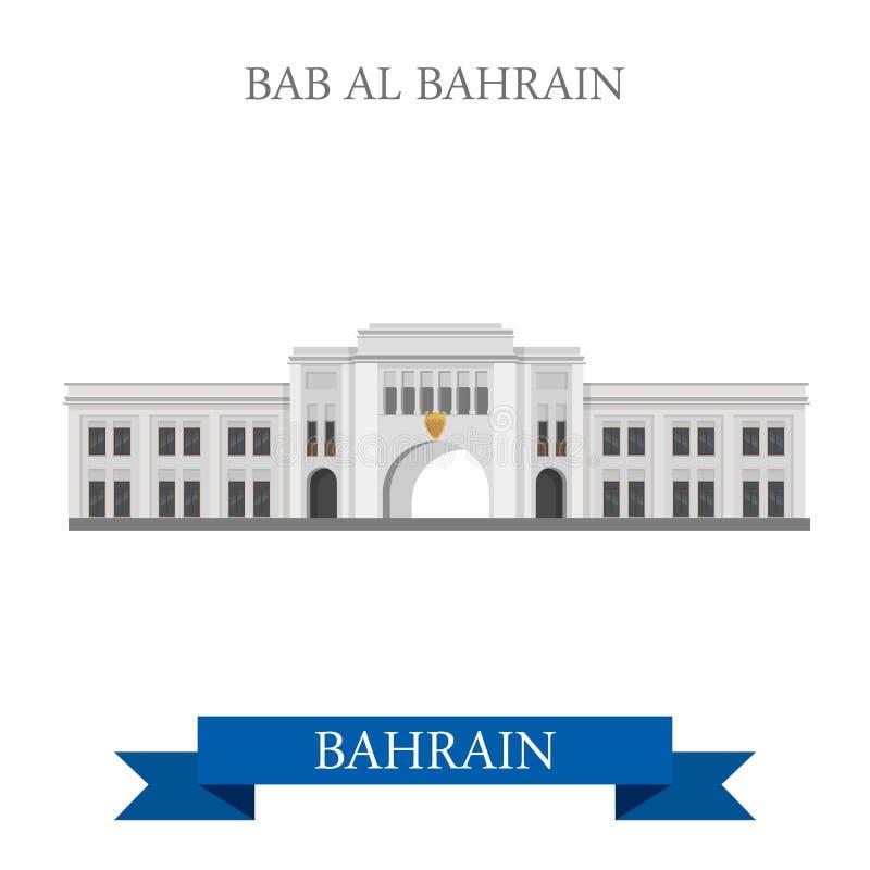 Viaggio piano dell'attrazione di vettore dei punti di riferimento di Bab Al Bahrain illustrazione di stock