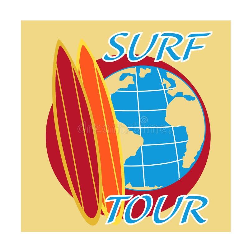Download Viaggio Praticante Il Surfing Di Vettore Con Il Bordo Di Spuma Ed Il Globo Della Terra Illustrazione di Stock - Illustrazione di background, disegno: 55350483