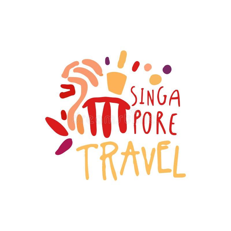 Viaggio a progettazione di logo di Singapore Marina Bay Sands illustrazione di stock