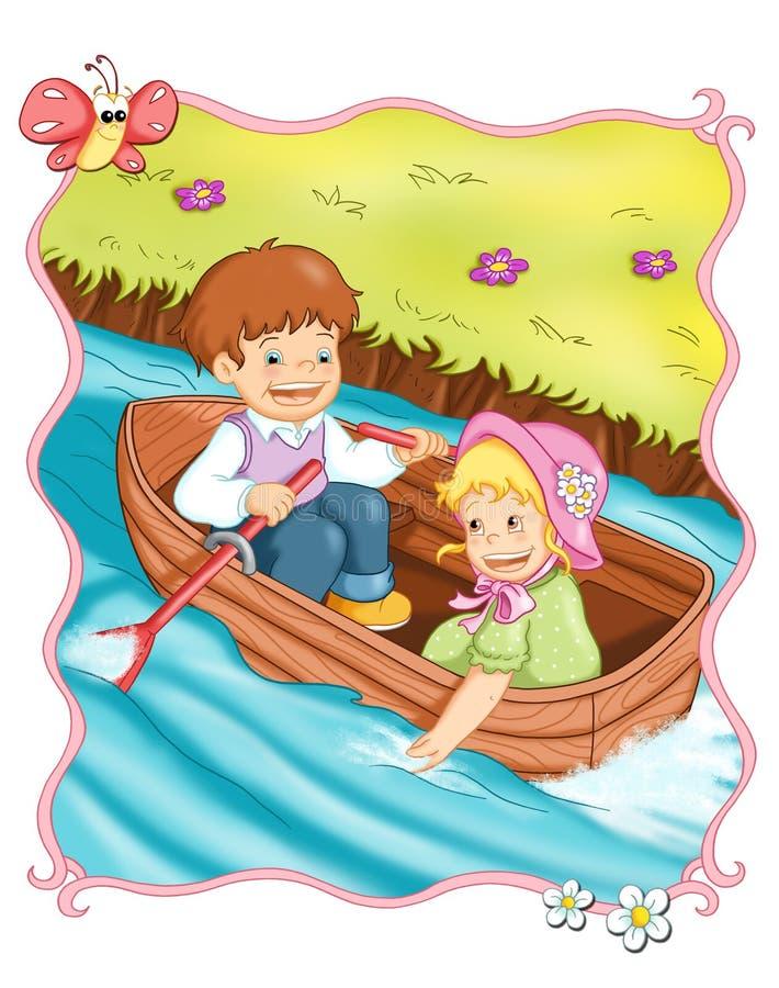 Viaggio romantico in barca illustrazione di stock