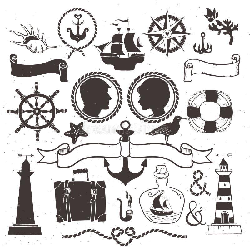 Viaggio romantico del mare Elementi disegnati a mano d'annata in nautico illustrazione di stock
