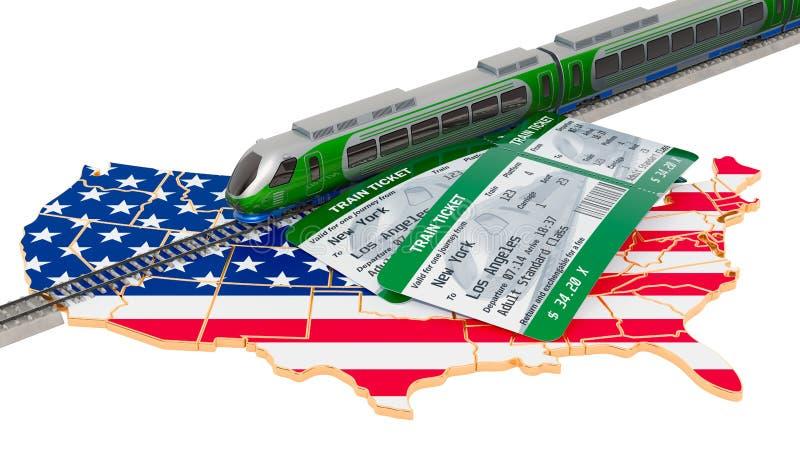Viaggio in U.S.A., concetto della ferrovia rappresentazione 3d illustrazione di stock