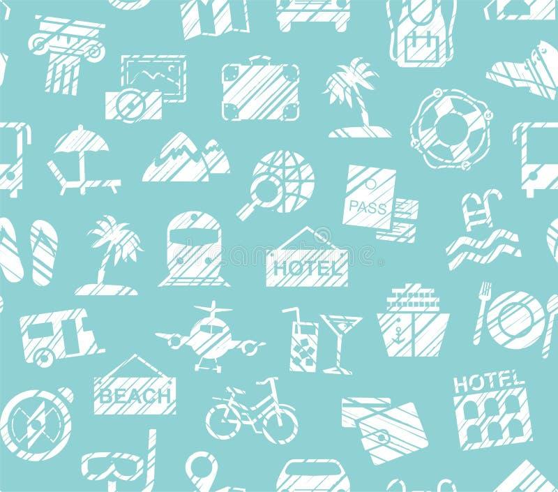 Viaggio, vacanza, facente un'escursione, svago, modello senza cuciture, ombreggiatura della matita, blu, vettore illustrazione vettoriale