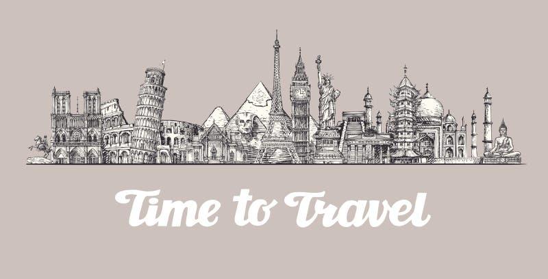 viaggio, viaggio Intorno al mondo, viste dei paesi Insegna, illustrazione di vettore royalty illustrazione gratis