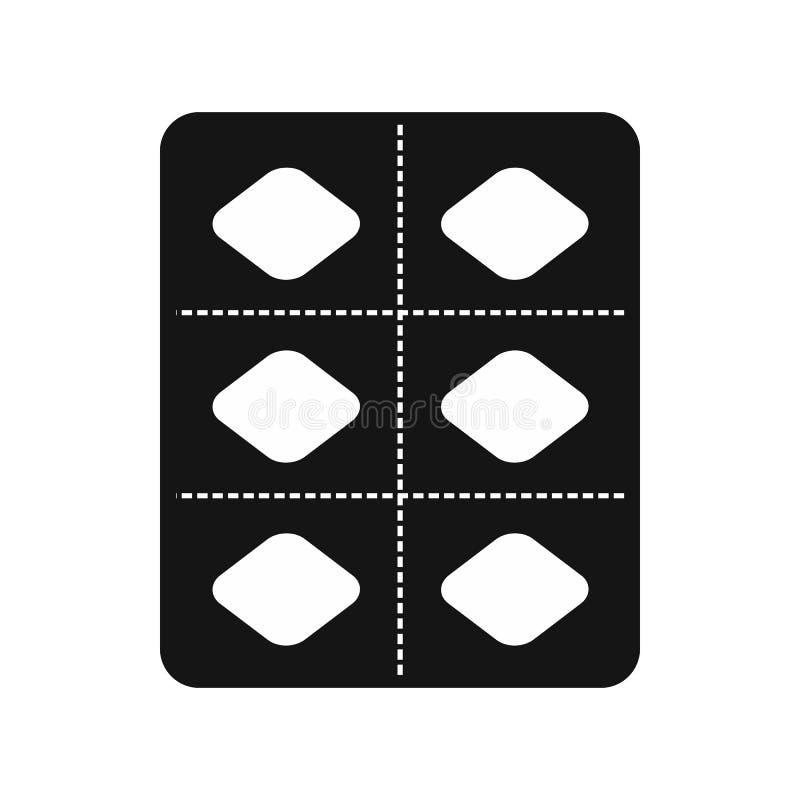 Viagra pigułki w bąbel paczki ikonie, prosty styl ilustracja wektor