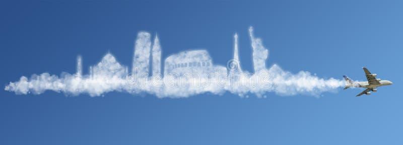 Viaja el concepto de la nube del mundo stock de ilustración