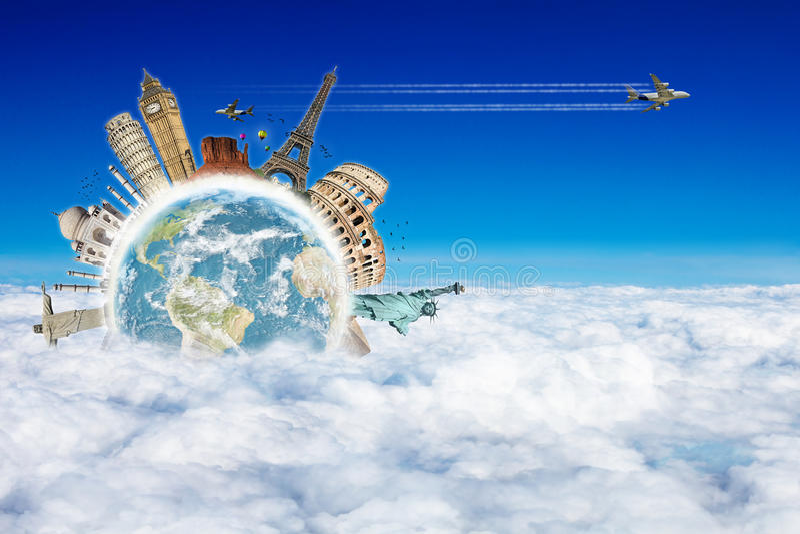 Viaja el concepto de las nubes del mundo stock de ilustración