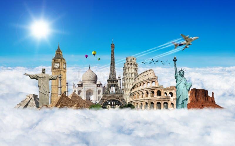 Viaja el concepto del monumento del mundo stock de ilustración