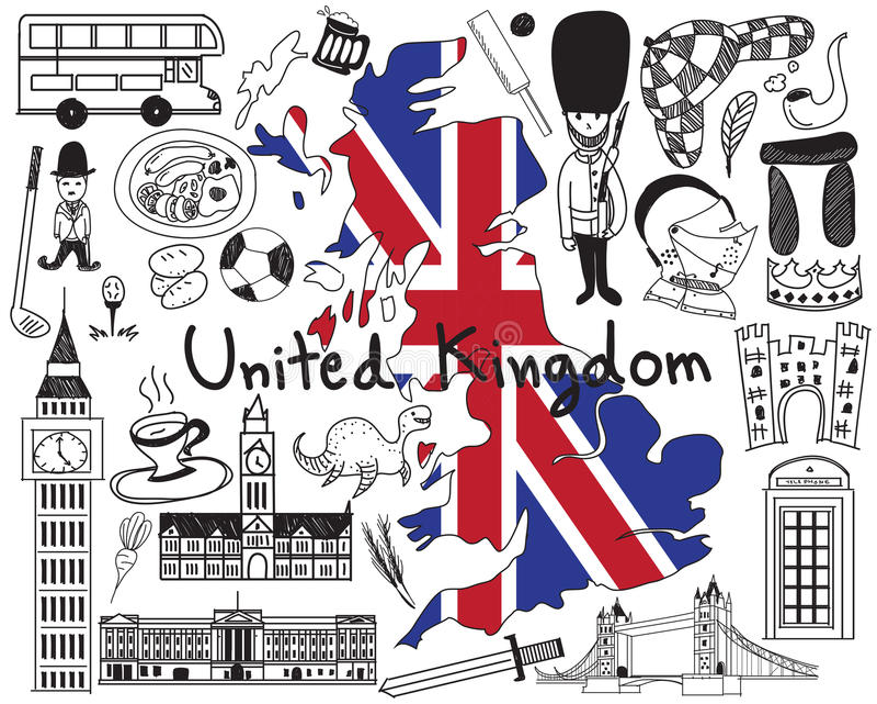 Viaja el icono al garabato de Reino Unido Inglaterra y de Escocia stock de ilustración