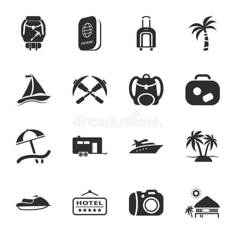 Viaja el sistema universal de 16 iconos para el web y el móvil stock de ilustración