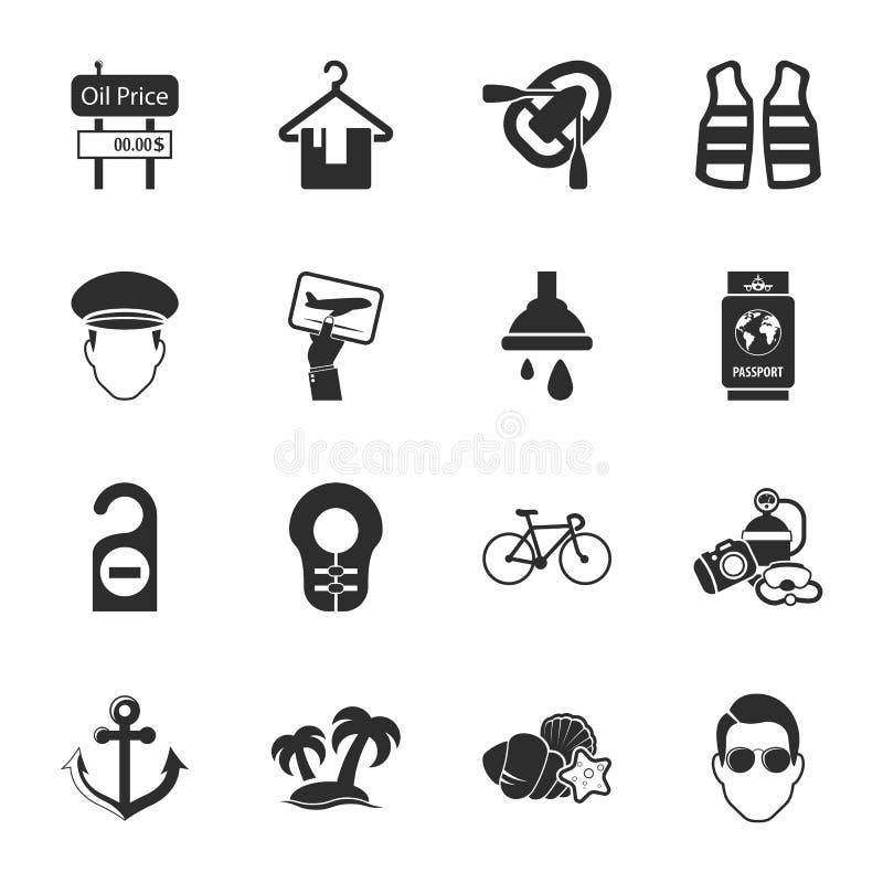 Viaja el sistema universal de 16 iconos para el web y el móvil ilustración del vector