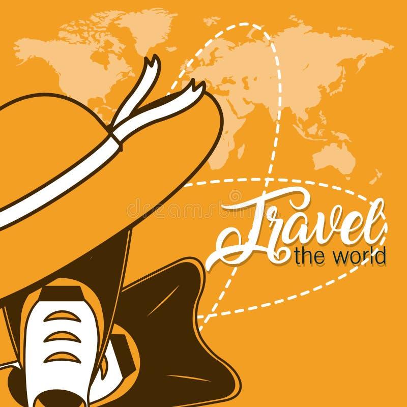 Viaja o cartão do mundo ilustração royalty free