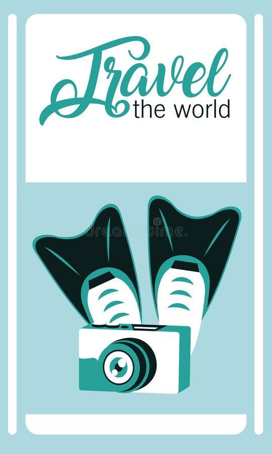 Viaja o cartão do mundo ilustração stock