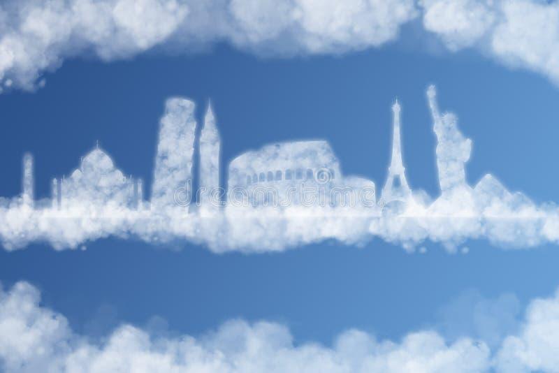 Viaja o conceito da nuvem do mundo ilustração royalty free