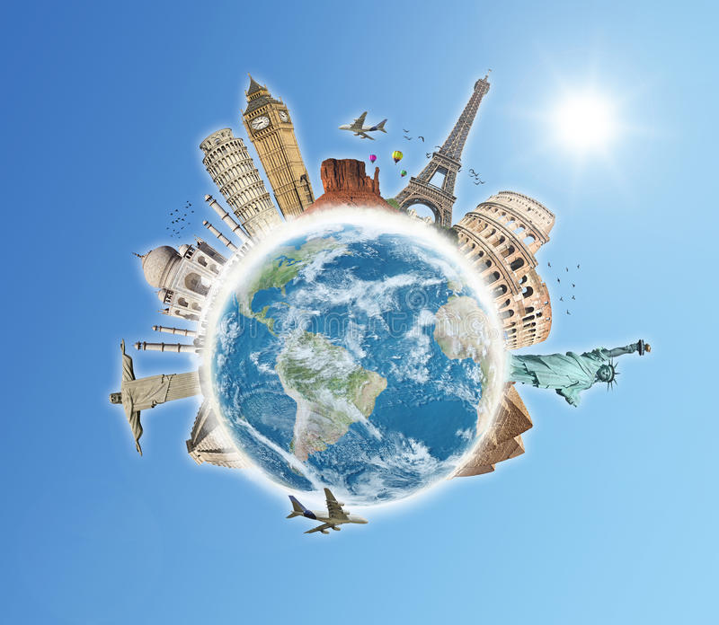 Viaja o conceito das nuvens do mundo ilustração do vetor