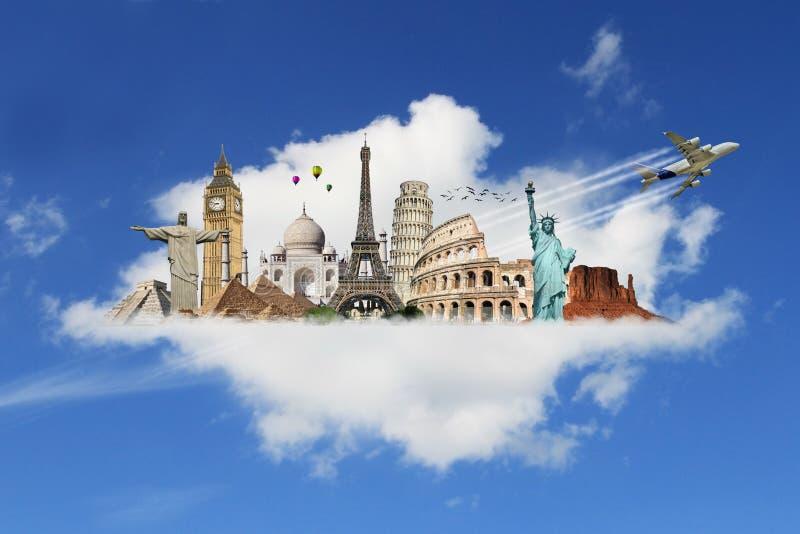 Viaja o conceito do monumento do mundo ilustração royalty free