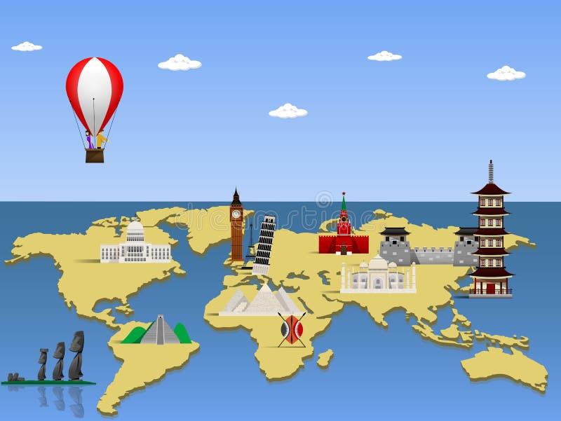 Viaja o conceito do monumento do mundo ilustração do vetor