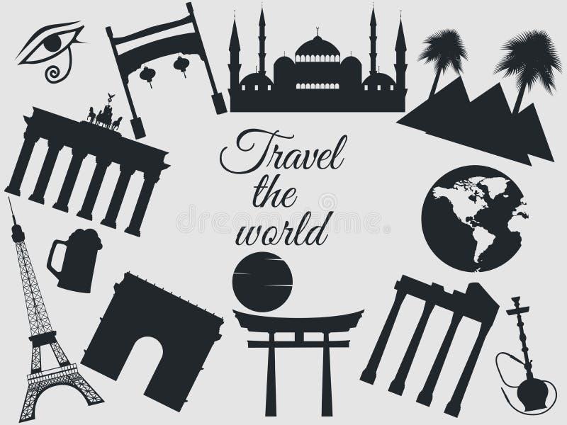 Viajam o mundo, os marcos do mundo, o curso e o fundo do turismo Em torno do mundo No fundo branco ilustração stock
