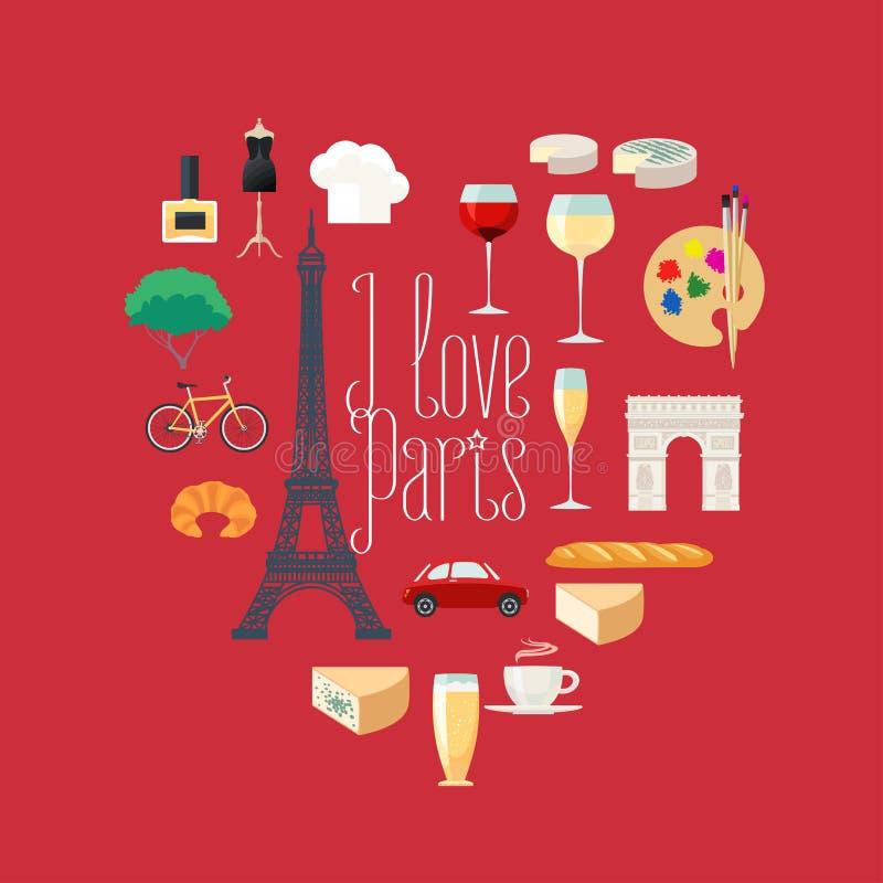 Viajan los iconos del vector a Francia, París fijados en forma del corazón libre illustration