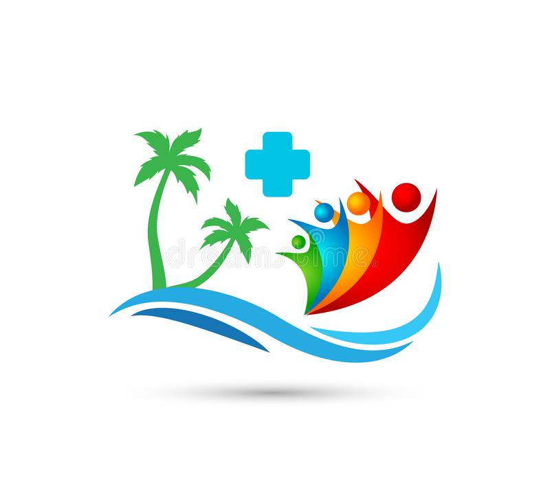 Viajando, curso, projeto feliz do logotipo do vetor da palmeira do coco do verão do feriado do turismo do hotel da onda de água d ilustração stock