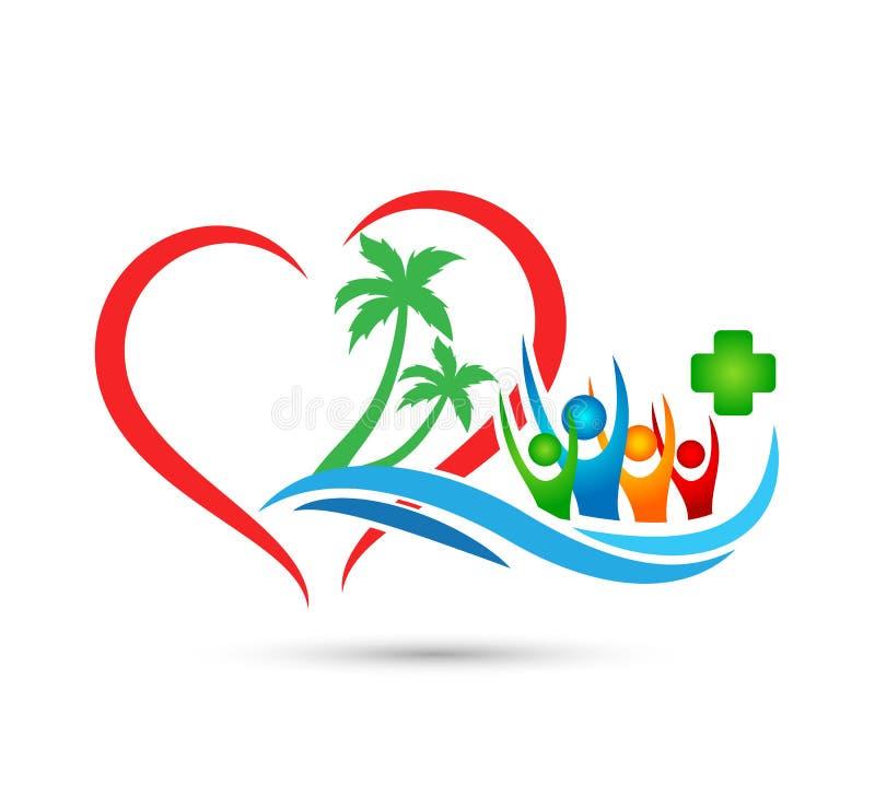 Viajando, curso, projeto feliz do logotipo do vetor da palmeira do coco do ver?o do feriado do turismo do hotel da onda de ?gua d ilustração do vetor