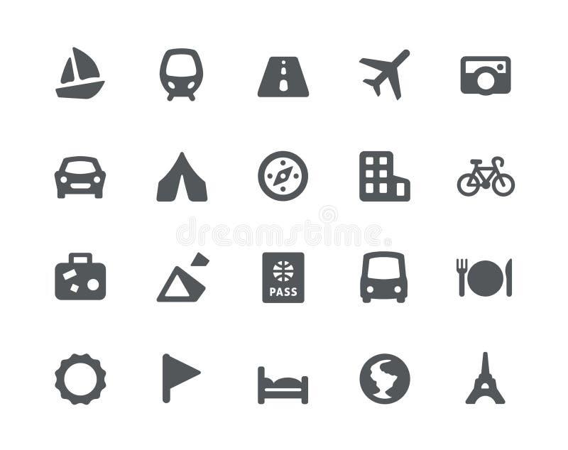 Viajando e iconos del transporte fijados libre illustration