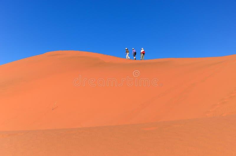 Viajando en África, gente en la duna fotos de archivo libres de regalías