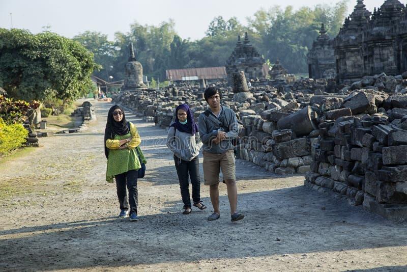 Viajando en el templo de Plaosan, Yogyakarta imagen de archivo