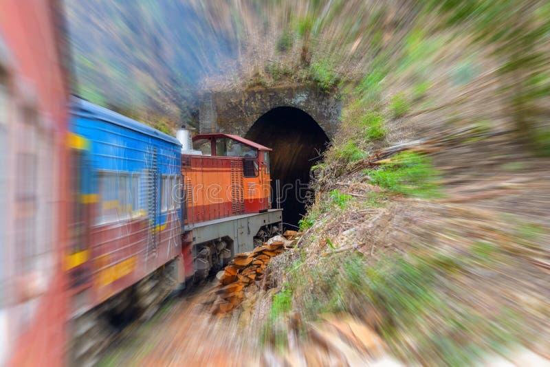 Viajando en Sri Lanka en tren, movimiento borroso fotografía de archivo libre de regalías