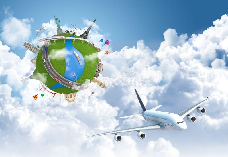 Viajando o globo do sonho do mundo ilustração do vetor