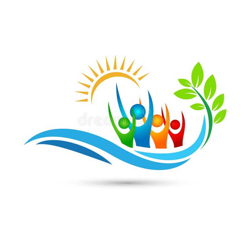 Viajando, viaje, dise?o feliz del logotipo del vector de la palmera del coco del verano del d?a de fiesta del turismo del hotel d libre illustration